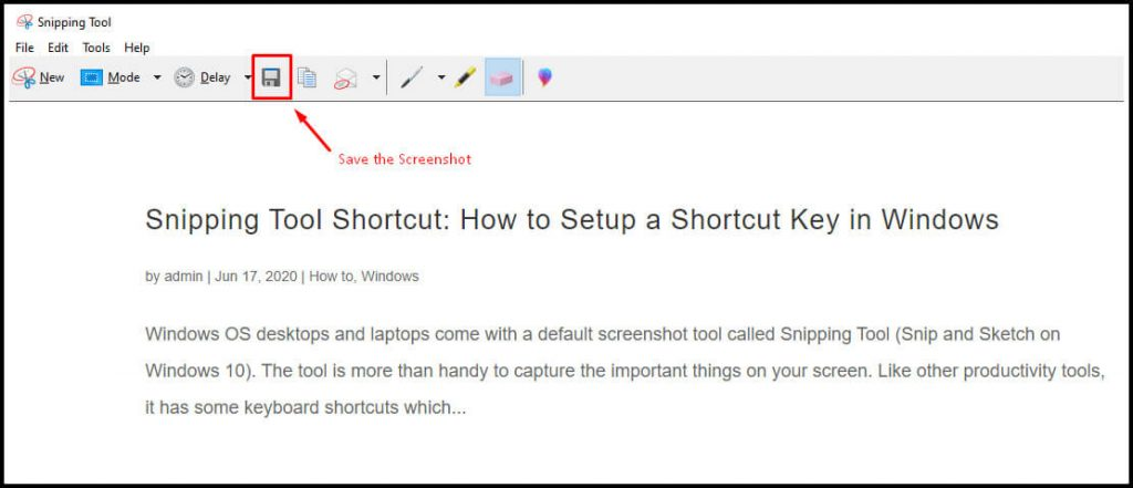 Save Screenshots on Snipping Tool