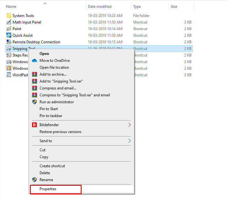 Shortcut for Snipping Tool