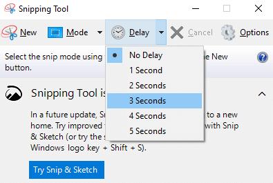 Take Delayed Screenshot on Snipping Tool