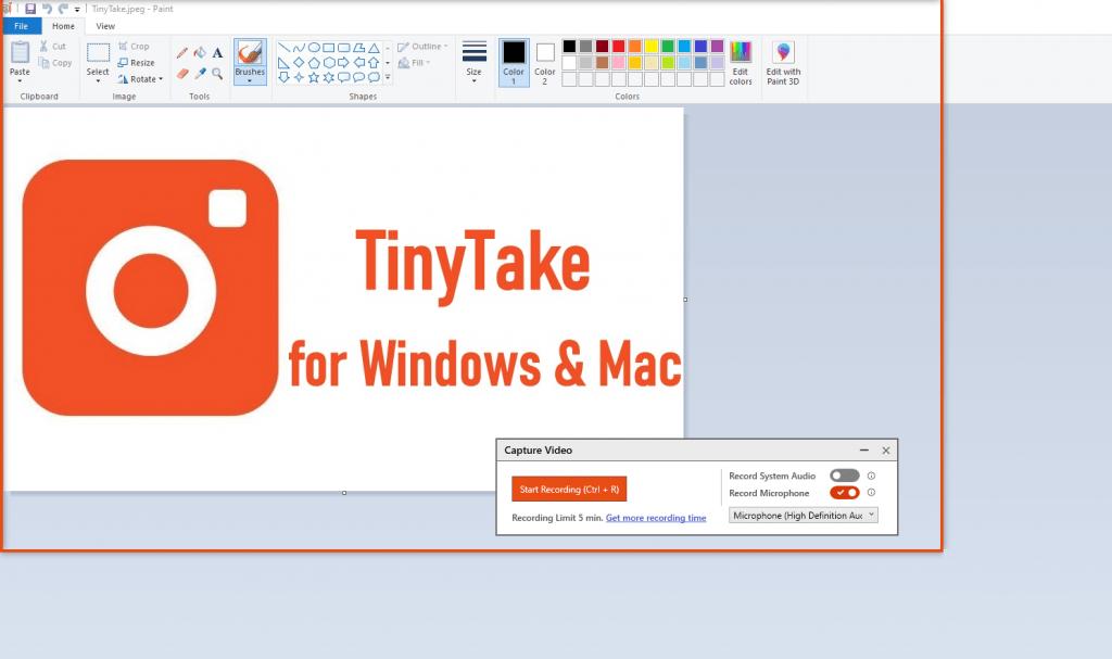 record screen using TinyTake